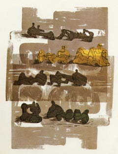 Eight Reclining Figures with Architectural Background - Print by Henry Moore