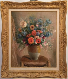 """Still Life on Chair""  oil on canvas  1969  Excellent condition, French floral"