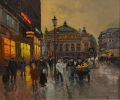 """""""Place de l'Opéra"""" oil on canvas, Paris, circa 1950, 18 x 21 inches"""