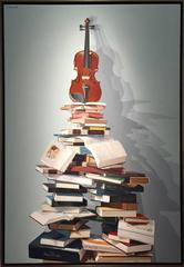 """""""Cremora Tower""""  2014 large Cuban oil / canvas Books and Violin LARGE vertical"""