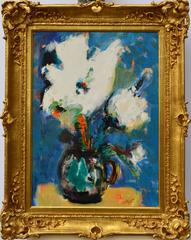 Abstract White Floral  MCM  1965   25 5/8 x 18 1/2 inches Modern Still Life
