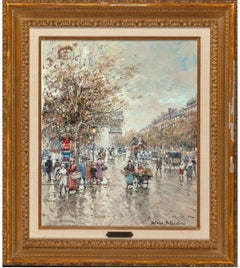 "Antonie Blanchard ""Arc De Triomphe"" 18x15 Inches, o/c French Paris Street Scene"