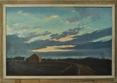 "Eric Sloane ""Spring Sunset"" Oil/Masonite 24 x 36 Inches  New England Barn Wooden"