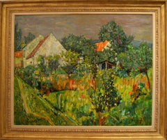 "Vignoles, 1958 ""House with Garden Behind a Fence"" Oil/Canvas 32x39 Inches"