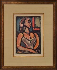 """Rouault 1938, """"Les Fleurs de Mal; Femme Fiere"""" Color Aquatint 12x8 Inches"""