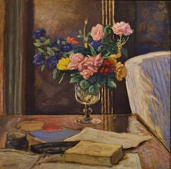 Roses dans une Verre, 25 3/4 x 25 3/4 O/C Post Impressionist French