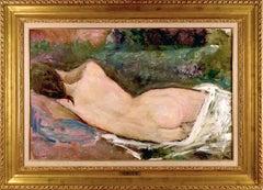 """Dietz Edzard """"Sleeping Nude, 1929"""" Oil on Canvas 23 x 34 3/4"""