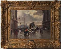 """Cortes 13 x 18"""" oil on canvas """"Place de la Concorde, Rue Royale"""" Paris Street"""