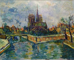 """""""View of Notre Dame"""" Oil on Canvas 29 x 36"""