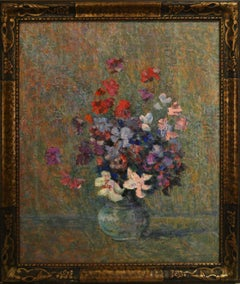 "Victor Charreton, ""Flowers in Vase"" Oil on Canvas 18 x 21.5 Fench Impressionist"
