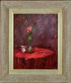 "John Cook, ""Flowers on Red Table"" Oil on Canvas 19 1/2 x 15 1/2  Texas artist"