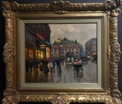 "Edouard-Leon Cortes, ""Paris Opera"" Oil on Canvas  18 x 21 Large"