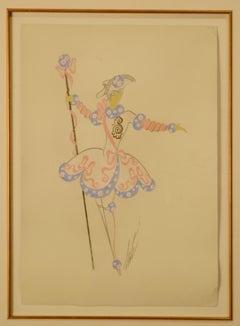 """Pink Dancer"" circa 1925 ORIGINAL Gouache on Paper 14 1/2 x 10 1/2"