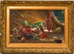 """""""Gypsy Family Cooking"""" Oil on Panel 6 1/4 x 9 3/4 Painted in Russia"""