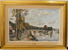 """Constantine Kluge, """"Les Ecluses de Bougival"""" Oil on Canvas 24 x 36"""