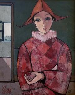 """""""Harlequin en rouge avec le chapeau"""" Oil on Canvas 30 x 24"""