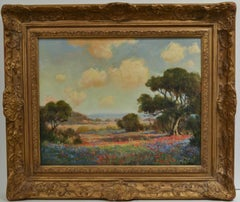 """Texas artist  """"Lazy Day with Bluebonnets and Paintbrushes"""" Oil on Wood 16 x 20"""