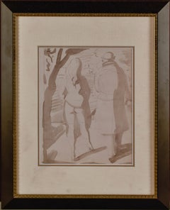 "Reginald Marsh, ""Walk in the Park"" Ink Wash and Graphite on Paper 11 x 8 1/2"