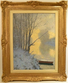 "Raymond Thibesart, ""Snowy Riverbank in the Morning"" Oil on Canvas 32 x 23 9/16"