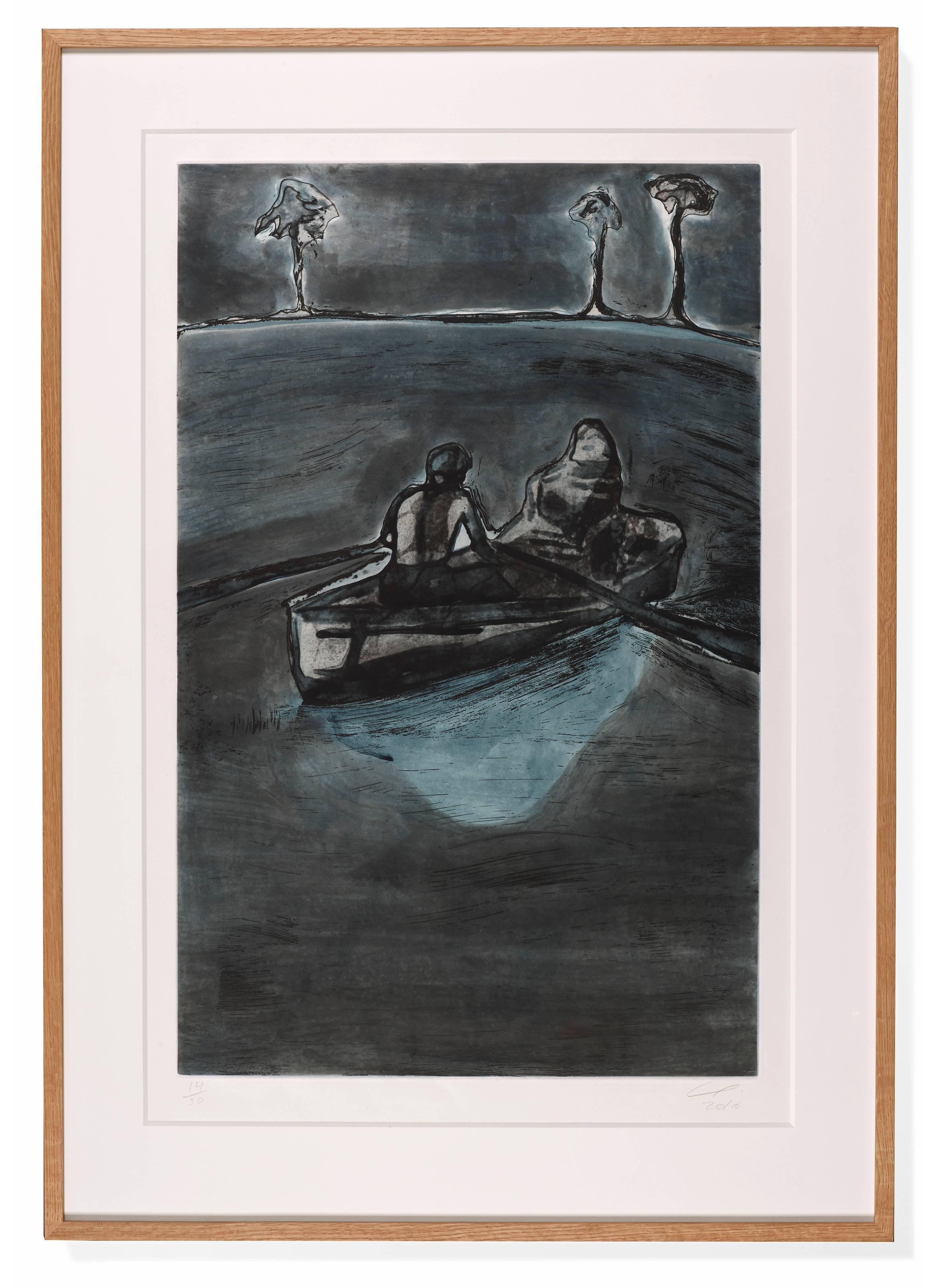 Two People at Night (indigo)
