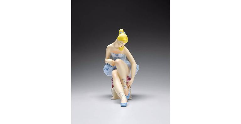 Seated Ballerina (Wood) - Sculpture by Jeff Koons