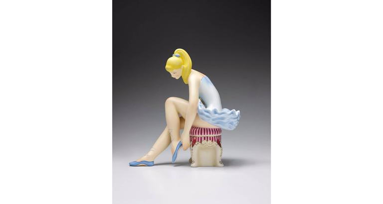 Seated Ballerina (Wood) - Contemporary Sculpture by Jeff Koons