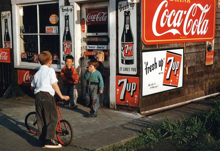 Fred Herzog Color Photograph - Bogner's Grocery (Coca Cola & 7 Up)
