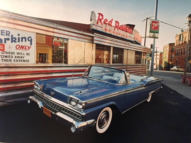 Bruce Wrighton Color Photograph - 1959 Ford Skyliner, Red Robin Diner, Johnson City, NY