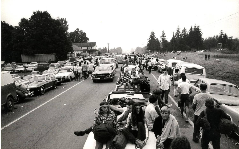 Burk Uzzle - Woodstock (line of cars), Photograph: at 1stdibs