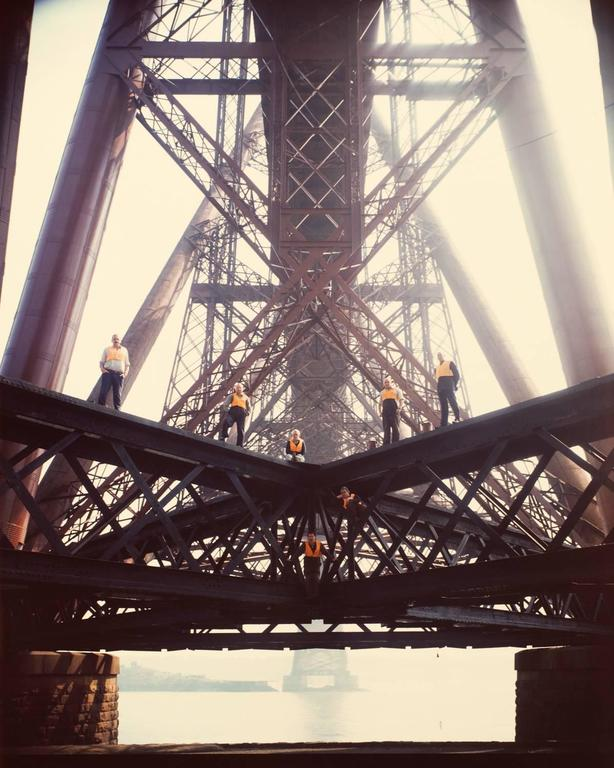 Neal Slavin Color Photograph - Painters of the Forth Rail Bridge, Firth of Forth, Scotland