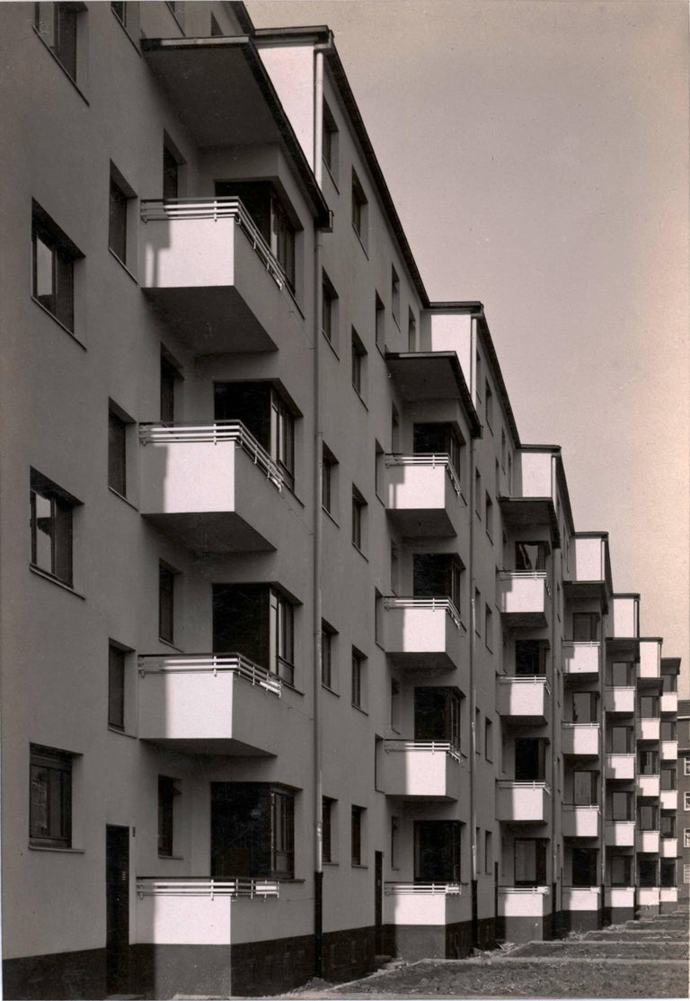 Werner Mantz Black and White Photograph - Facade Details, Residential Apartment Block, Kalkerfeld, Cologne