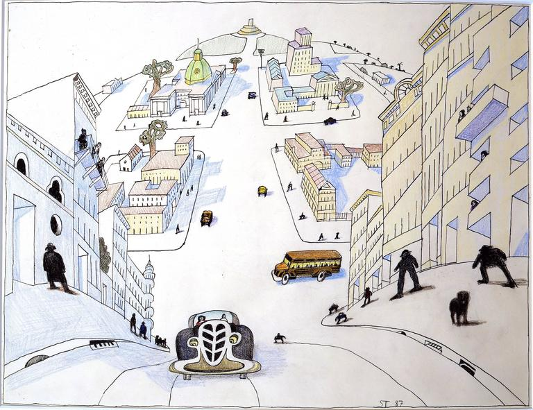 Saul Steinberg San Gennaro Ca Mixed Media For Sale At