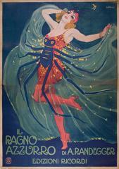 Rare Italian Stone Lithograph Theatre Poster by Leopoldo Metlicovitz, 1912