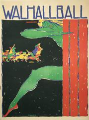 """""""Walhallball,"""" a German Stone Lithograph Theatre Festival Poster, 1905"""