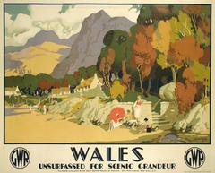 """Wales,"" a Stone Lithograph British Railway Poster by Michael Reilly, circa 1930"
