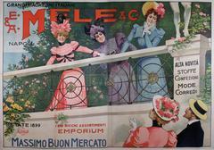 Large Italian Art Nouveau Period Fashion Poster by Aleardo Villa, 1899