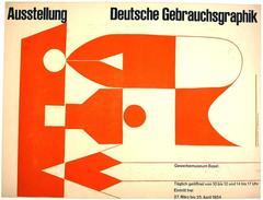 Mid Century Modern Swiss Exhibit Poster by Armin Hofmann, 1954