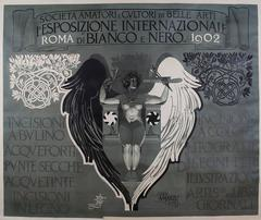 Italian Art Nouveau Period Poster by Mataloni for Black and White Art Exhibit
