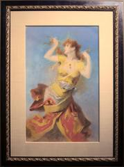 Original Pastel Painting of a Dancing Woman by Jules Cheret, early 1900s