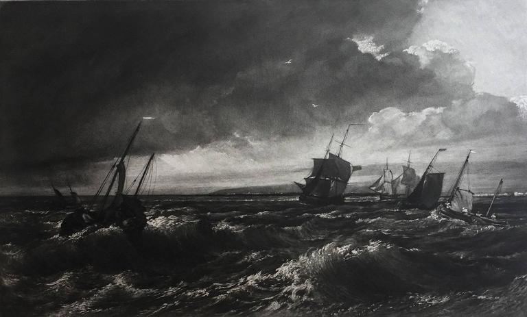 Mezzotint after J.M.W. Turner,  Signed in pencil. Ref: Hardie 58.   This seascape is one of Frank Short's finest mezzotint works after J.M.W. Turner. This comparatively large mezzotint was made as an independent plate and not as part of a series.