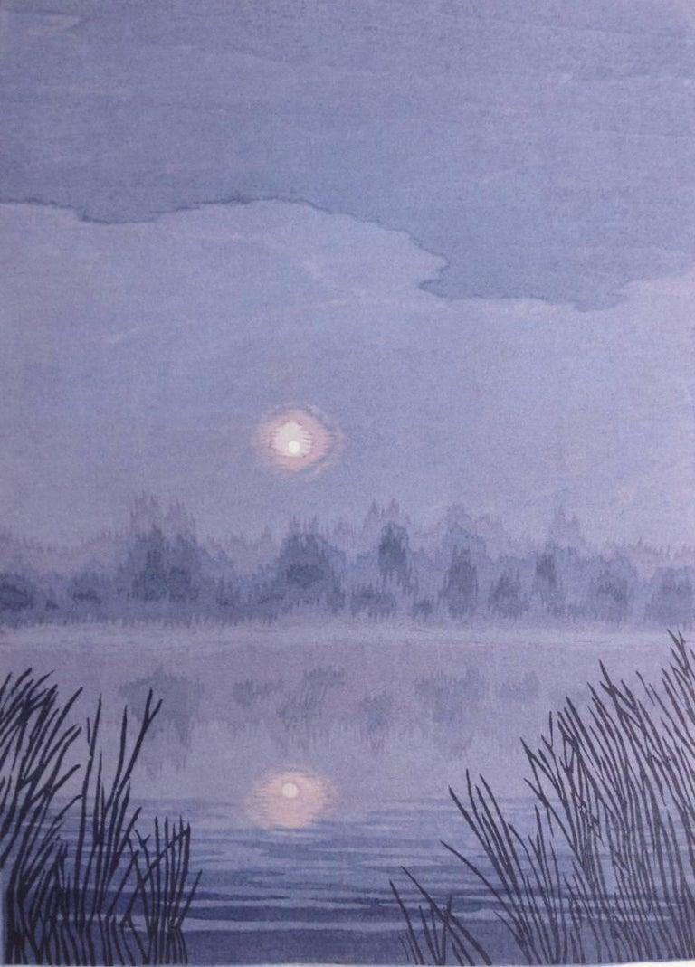 Micah Schwaberow Landscape Print - Moon At Dawn