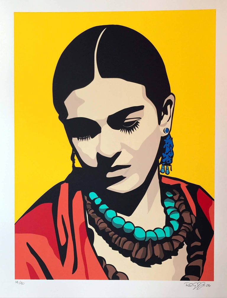 Raul Caracoza Portrait Print - Young Frida (Yellow)