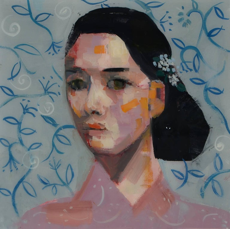 "Rimi Yang, ""Ceramic Beauty"", Oil Painting on Wood Panel - Gray Portrait Painting by Rimi Yang"