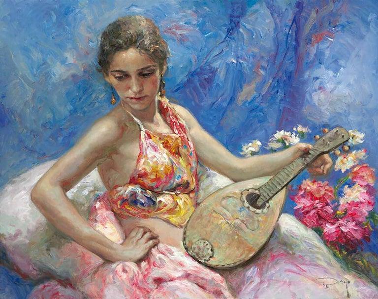 José Royo Figurative Painting - Azules y Rosas