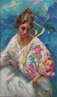 "José Royo, ""El Mar"", Oil painting on canvas, Impressionist"
