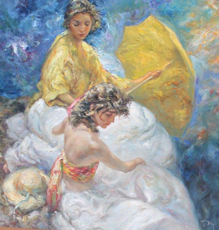 "José Royo, ""Junto Al Mar"", Oil paint on canvas, impressionist"