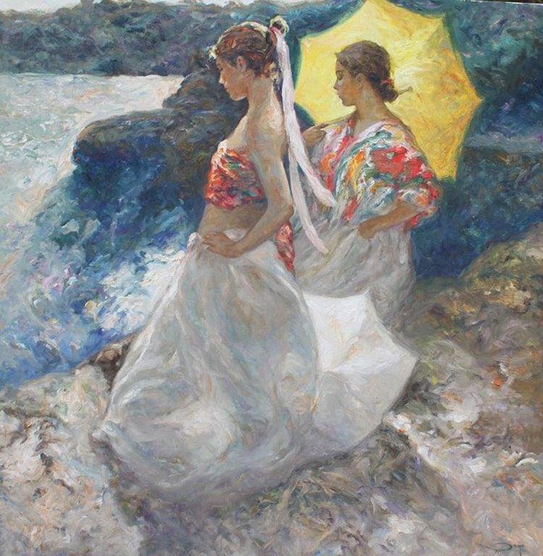 """José Royo, """"Atardecer Junto Al Mar"""", Oil on Canvas, Impressionist"""