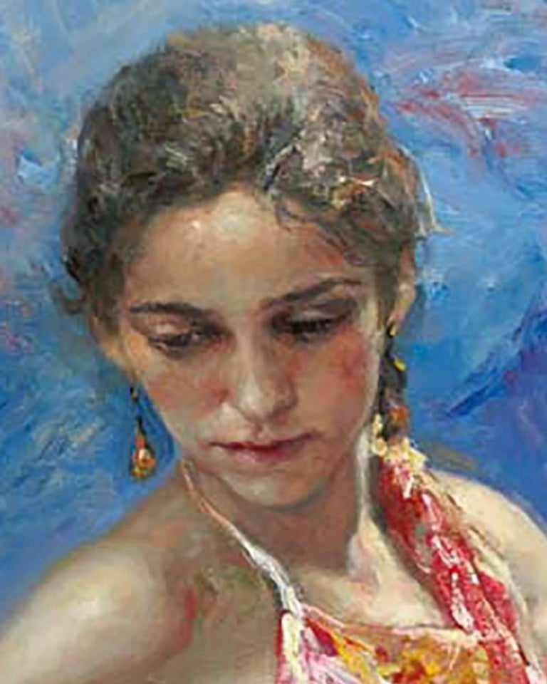 Azules y Rosas - Gray Figurative Painting by José Royo