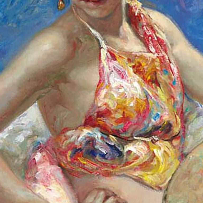 """""""Azules y Rosas"""" by José Royo is a stunning oil painting on canvas.  This piece measures 28 inches tall by 36 inches wide and features Royo signature impressionistic style.  This compostion of a woman holding a lute with flowers in the background"""