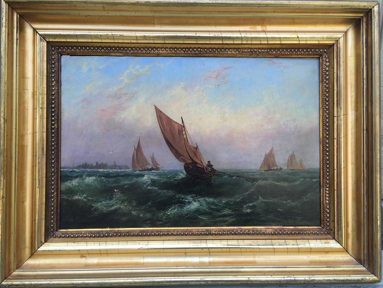 Unknown Landscape Painting - Sailboats on a Rough Sea